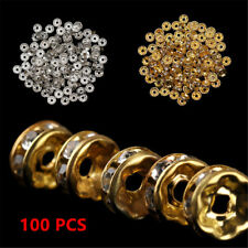 100PCS Silver Gold Crystal Rhinestone Rondelle Spacer Beads DIY Jewelry Making~