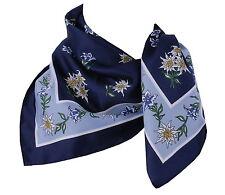 Trachtentuch Trachtenhalstuch Nickituch Halstuch Edelweiß Blau Marin Hellblau