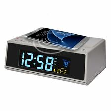 "Reloj Despertador Acctim ""LED Cargador inalámbrico con conector inteligente en Gris"
