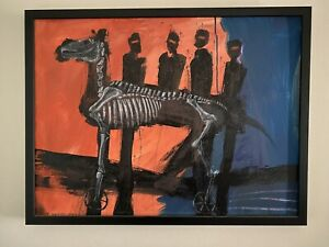 """Painting by MAX HORST """"Ned Kelly And His Gang""""comes with certificate COA"""