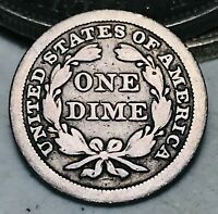 1845 Seated Liberty Dime 10c High Grade Details Good Date US Silver Coin CC5395