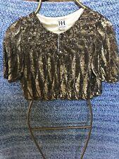 AUTHENTIC HAUTE HIPPIE SHRUG SHAWL COLLAR BEADED SEQUIN SHORT JACKET