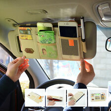 Car Sun Visor Tidy Storage Bag Paper Tissue Box CD case Grid Card Bag  Beige