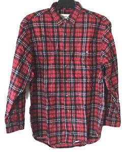 New Eddie Bauer Red Plaid 100% Cotton Long Sleeve Prentiss Flannel Shirt Men's L