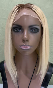 """Lace Front Real Human Hair Wig Blonde (yellow) Ombré Straight 12"""" 100% Natural"""