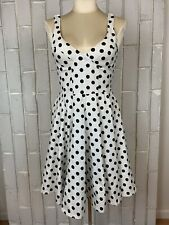 Ariella Los Angeles Black White Polka Dot Fit Flare Padded Cups Bustier Dress M