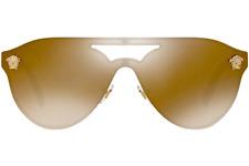 NWT Versace Sunglasses VE 2161 1002/F9 Gold Brown /Light Gold Mirror 42mm 1002F9