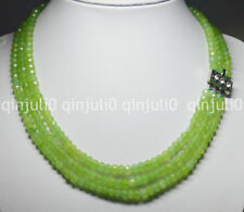 """Natural 4X6mm NATURAL PERIDOT FACETED BEADS NECKLACE 3 STRAND 18-20"""" JN1375"""