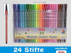 24 Filzstifte Fasermaler Filzschreiber 24 verschiedene Farben - Aktion