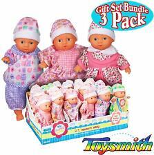 Toysmith Lil Newborn Mini Baby Dolls (6 In) Gift Set Bundle - 3 Pack Caucasian
