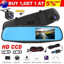 "HD 1080P 4.3"" Dual Lens Car DVR Dash Cam Reverse Camera Mirror Video Recorder AU"