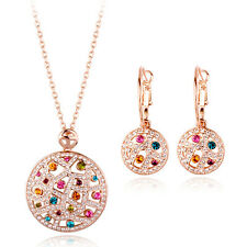 18K ROSE GOLD PLATED GENUINE CZ & AUSTRIAN CRYSTAL NECKLACE AND EARRING SET