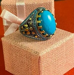Antique Ottoman Style Turquoise Fayrouz Ring Men Sterling Silver 925