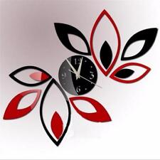 Acrylic Mirror Wall Clock Sticker Modern Decor Wall Sticker Floral Wall Decal