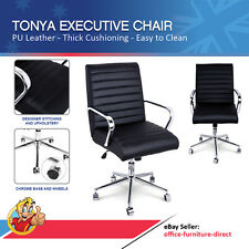 Tonya Black Office Executive Chair Desk Meeting Boardroom Chairs, PU Leather