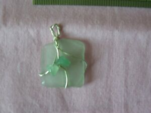 Natural Sea Green Frosted Sea Glass Pendant With Gemstones Birthday Gift