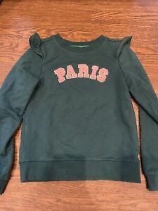 EUC Janie and Jack WINTER SPRING FALL pink green ruffled PARIS sweatshirt size 6