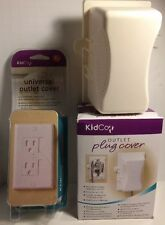 Three KidCo Outlet Covers. 1-Universal outlet cover, 2- Outlet Plug Covers