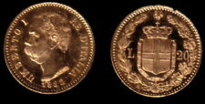 ITALY LUSTROUS CLASSIC GEM COIN 1882 20 LIRE  GOLD, DEPICTS KING UMBERTO THE 1ST