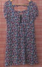 PORTMANS Size 12 Black Short Sleeve Dress with Maroon & Blue Flowers