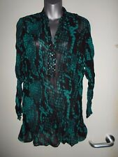 Epilogue jade/black chiffon l/s bead detail long tunic/kaftan/beach cover sz 10