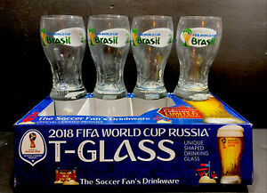 2018 Fifa World Cup Russia T-Glass Unique Shaped Drinking Glass 4 Pack 14 Oz