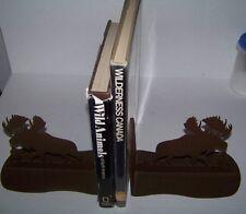 """VINTAGE  POWDERED COATED - BROWN STEEL - MOOSE BOOK ENDS  9"""" x 6-3/4"""" x 4-7/8"""""""
