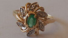 Most attractive '80's, natural Emerald, Diamond 14ct gold Halo ring, sz 9, 3.14g