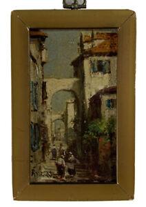 Arthur Vidal Diehl (1870-1929) Original Oil on Canvas Street Scene Cityscape