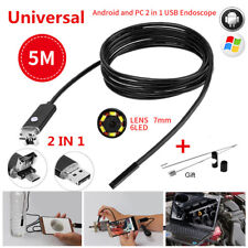 5m 7mm Android PC HD Endoscope Snake Borescopes 2-in-1 USB Inspection Camera 67°