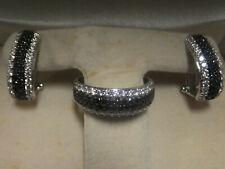 14KT white Gold Diamond & Sapphire Ring & Earring Set