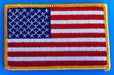 """USA AMERICAN FLAG EMBROIDERED PATCH IRON-ON / SEW-ON GOLD BORDER (3½ x 2¼"""")"""