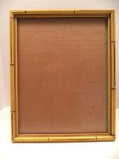 11x14 Hollywood Regency wood yellow bamboo look picture frame easel back vintage