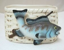 Vintage Napco 16258 Fishing Creel w Pole & Fish Planter Flower Pot Card Holder