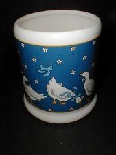 Blue Japanese Ceramic White Geese Duck w Ribbon Kitchen Utensil Holder