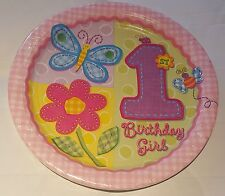 1x Pack of 8 Pink ~ 1st Birthday ~ Hugs & Stitches Children's Paper Party Plates