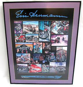 "Harley Davidson Eric Herrmann Poster Motorcycle Collage Studio Art 32""t 26""w"