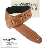 Walker & Williams G-962 London Tan Tooled Guitar Strap Padded Glove Leather Back