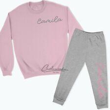 Personalised Name Lounge Set Sweatshirt Sweatpants Tracksuit Kids Pink Blue TR1