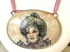 VTG Hand Painted Lady Porcelain Portrait Necklace Signed JEANNE GILLETTE 1995