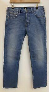 LEE Powell Light Blue Faded Button Fly Denim Jeans W33 L32