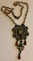 """Amber 17"""" Rhinestone Attached Pendant Glass Beaded Gold Tone Necklace"""
