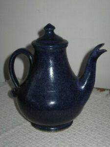 Signed H Pugh 1993 New Salem NC Original Cobalt Blue Stoneware 3Cup Teapot w Lid