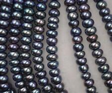 AA++ 5 Strands 8mm peacock black freshwater pearl loose strings free shipping