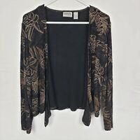 Chicos Travelers WOmens Cardigan Sz 1 M Black Gold Floral Open Front Long SLeeve