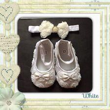 Baby girls soft sole prewalker (pram) shoes & Bow Headband WHITE & FREE GIFT