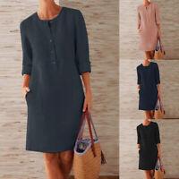 Mode Femme Loisir Loose Col Rond Manche Longue Casuel Droit Jupe Robe Mini Plus