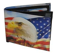 Mens Bifold Exotic Wallet Picture US American Flag Eagle with printed gift box.