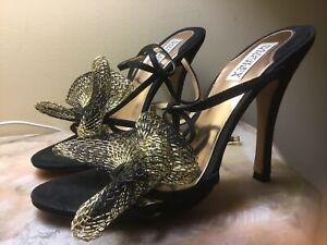 Badgley Mischka Leather Luxury Shoes 9M Gold Black