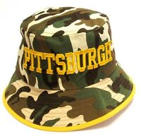 Pittsburgh Steelers Camo Bucket Golf Fishing Sun Hat Cap Embroidered Text Logo